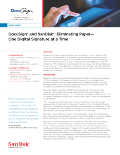 DocuSign® and SanDisk: Eliminating Paper—One Digital Signature at a Time